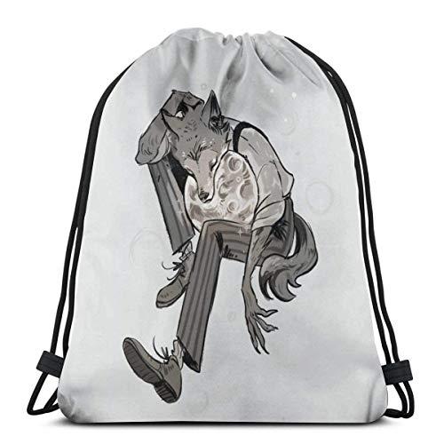 Yuanmeiju Drawstring Bag Sport Gym Party Gift Backpacks Storage Goodie Beastars Louis