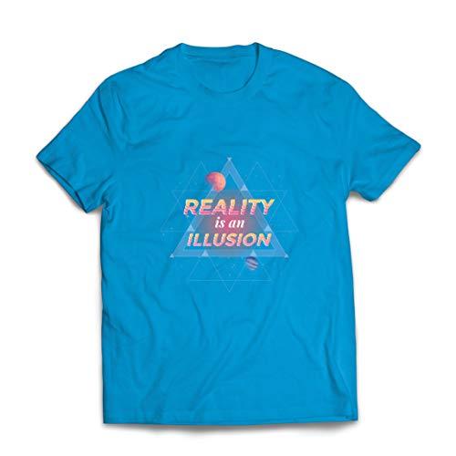 lepni.me Camisetas Hombre La Realidad es una ilusin La Ciencia Espacial de los Planetas Dice (Small Azul Multicolor)
