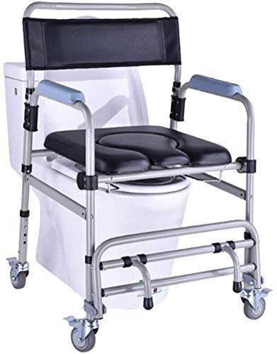 HMMN 4 en 1 Silla de baño con Ruedas con Ruedas propulsadas, Taburete de baño de baño, Silla de comodín, para baño de baño de baño Persona discapacitada, para Personas con discapacidad anciana