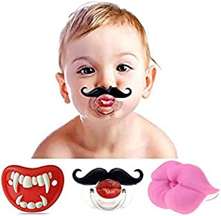 3Pcs Cute Kissable Mustache Pacifier for Babies and Toddlers Unisex Baby Lips Pacifier - BPA Free Latex Free Made with Silicone Creative Personalized Baby Pacifiers