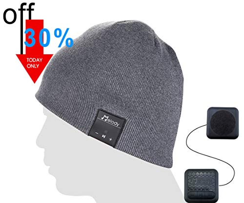 Bluetooth Music Beanie Cap, Coeuspow Wireless 4.1 Stereo Music Earphones Hat with CVC 6.0 Noise Cancelling,Built-in Mic Hand Free and Rechargeable Battery for All Cell Phones,Ipad,PDA-Grey