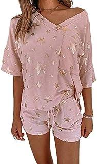 Bienwwow 2-delige dames katoenen pyjama set korte mouw top & broek sterren print casual loungewear losse nachtkleding nach...