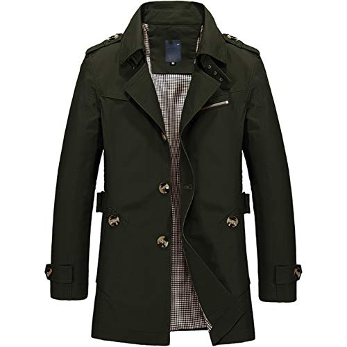 Derrick Aled(k) zhuke Autumn and Winter Washed Men's Cotton Casual Jacket Mid-Length Windbreaker Jacket ArmyGreen