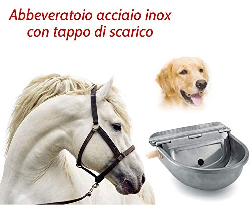 Motisi Zootecnici Abbeveratoio Automatico per Cani, Cavalli, Pecore, ECC. in Acciaio Inox 304, Spessore 1,2 mm. con Tappo di Scarico per Una Veloce e Facile Pulizia.