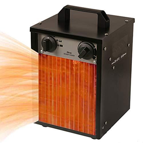 GoodWell Calefactor Industrial con Dos ajustes de Calor más una Etapa separada de Aire frío termoventilador de Exteriores portátil, Adecuado para almacén de Garaje de Taller, (25/1000/2000W).