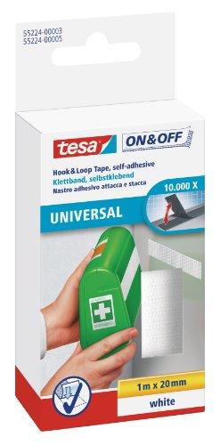 tesa On & Off Klettband zum Aufkleben - Selbstklebendes Klettklebeband zur Befestigung leichter Gegenstände - Weiß, 2 cm x 100 cm