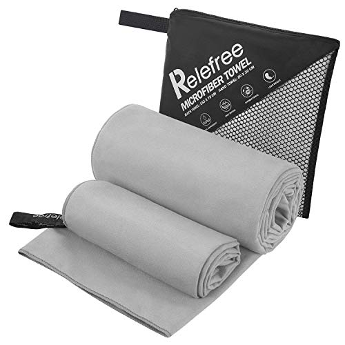 Relefree Microfiber Towels(2 Pack),Fast Drying - Super Absorbent - Ultra Compact,Yoga and Gym Quick Dry Towels, Travel & Hiking&Camping&Sports &Beach Backpacking (Gray)