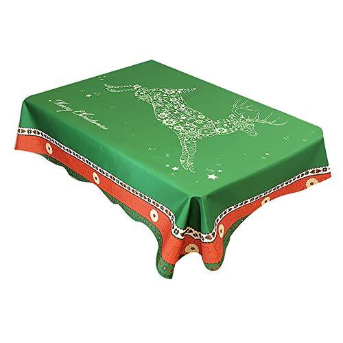 Kesio - Mantel rectangular de Navidad, impermeable, para decoración navideña, ideal para mesas de buffet, fiestas, cenas de vacaciones, 150 x 150 cm