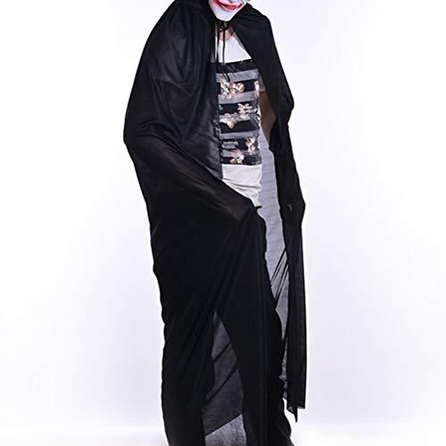 AMOSFUN Capa mgica de vampiro de Halloween Cosplay con capucha, capa negra de capa de mascarada accesorio de disfraz