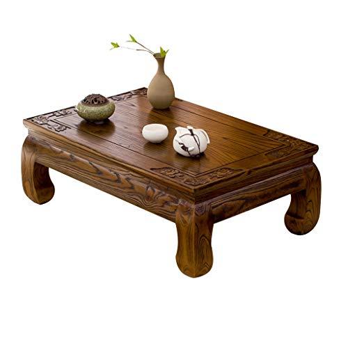 Tavolino in Legno massello Tatami tavolino Antico vetrina Tavolo Vecchio Olmo Tavolino Zen Tavoli e tavolini (Color : Brown, Size : 70 * 45 * 25cm)
