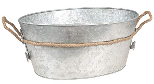 Galvanized Tub Beverage Ice Drink Tub - Party Accessory, Rust Trim and Rope Handles, Rustic Home Decor Accessories, Gift Idea for Housewarming, Birthdays, and Christmas, Natural, 19 x 15 x 8 Inches
