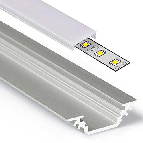 2m Aluprofil TRIO (45°) 2 Meter Aluminium Ecke Profil-Leiste eloxiert für LED Streifen - Set inkl Abdeckung-Schiene milchig-weiß opal und Endkappen (2 Meter milchig click)