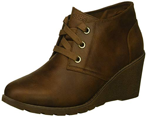 Skechers BOBS Women's Tumble Weed-Goin West. Microfiber Wedge Bootie w Memory Foam Ankle Boot, Brown, 10 M US