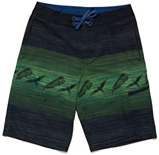 Huk Youth Outrigger Print Board Short | Quick-Drying Fishing & Swimming Shorts with UPF 30+ Sun Protection , Black, Youth Small