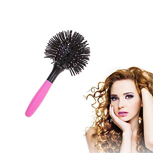 3D Bomb Curl Hair Brush, Spherical Comb Bomb Curl Hair Brush, 360 Degree Ball Round Hair Brush, Styling Salon Round Hair Curling Curler Comb Tool, Massage Comb Hairbrush for Women
