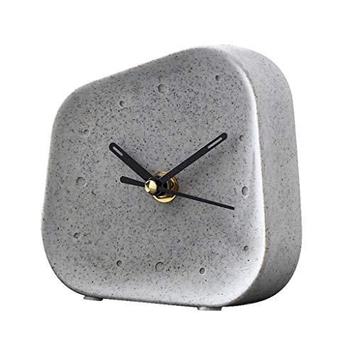 LGQ-JJU Nordic Cement Kaminuhr, Nacht Platz Geometric Art Deco Schlafzimmer Haus Minimalist Studie Schreibtisch Dekoration Uhr (Color : Gray)