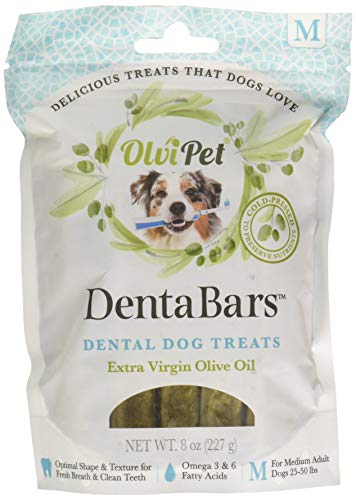 OlviPet, Denta Bars, Medium Dental Dog Treats, Healthy Snack, Olive Oil Based, Promotes Fresh Breath and Clean Teeth, Rich in Nutrients, 8 oz.