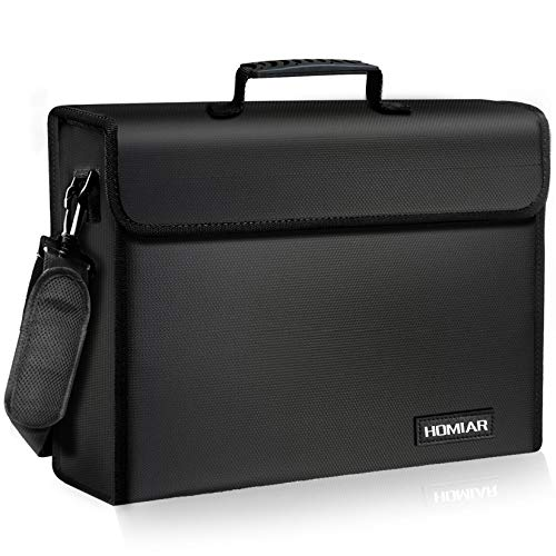 """Fireproof Document Bag - X Large Safe Bags,Waterproof File Storage Bag,Silicone Coated Non-Itchy Fiberglass Money Bags with Handle Zipper for Laptop,Files,Money,Jewelry,Valuables - 17"""" x 12"""" x 6"""""""