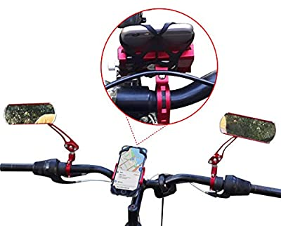 Buyshopus 2 Bicycle Mirror Bicycle Phone Holder Handlebar Set 360 Rotation Mirror Phone Mount Aluminum Alloy Adjustable,Bike,Motorcycle Phone Mount for iPhone Samsung and Smartphones 3.5 to 6.5 Inch ...