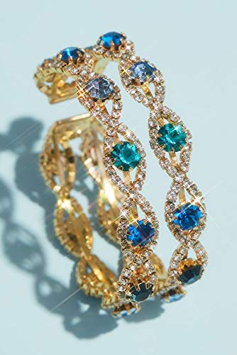David's Bridal Pave Infinity Cuff Bracelet with Accent Gemstones Style MBR20992, Blue