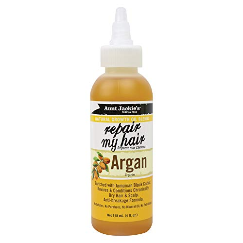 Aunt Jackie's Natural Growth Oil Blends Repair My Hair - Argan, Revives and Conditions Chronically Dry Hair and Scalp, Anti-Breakage Formula, 4 oz