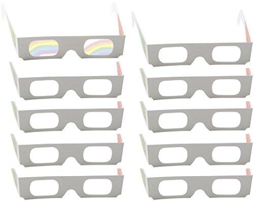 10 Regenbogenbrillen, Farbenbrillen mit Multispektralfolie - Lichtquellen in bunten Farben sehen, Prismabrillen