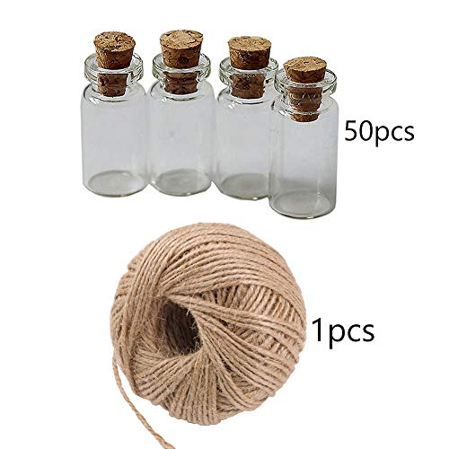 Schnuger 50 Mini-glasflaschen Exquisite Korkstopfen Wünschte Flasche 1 Stück Jute Bindfäden, Jute Bindfäden, Jute Bindfäden, Dekoratives Seil