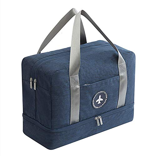 Young & Ming Impermeable Bolsa de Deporte con Compartimento para Zapatos Bolsa de Gimnasio Grande Bolsa de Viaje Bolsa Fin de Semana para Hombre/Mujer, 20L-Azul Marino