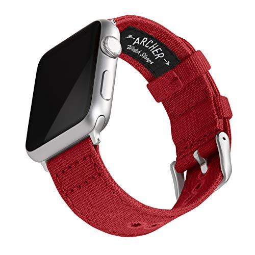 Archer Watch Straps | Correas Reloj Lona para Apple Watch | para Hombre y Mujer (Rojo Carmín, Plata, 42/44mm)