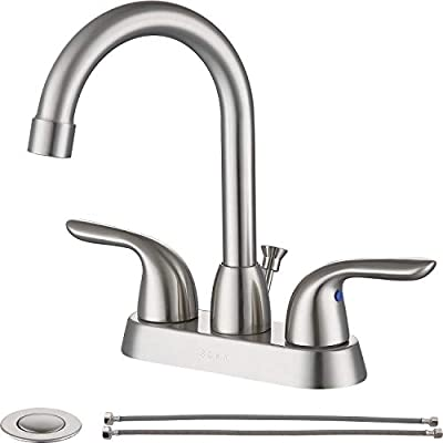 "SOKA SK18001NY Centerset Bathroom Sink Faucet Two Handles High Arc 4"" Lavatory Bath with Deck Plate & Pop-Up Drain Fit 3 Hole Installation, Brushed Nickel"