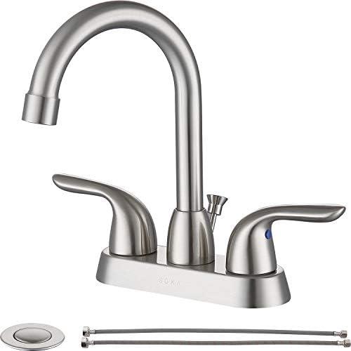 SOKA 2 Handle Bathroom Faucet Brushed Nickel 4 Inch Brushed Nickel Bathroom Sink Faucet Centerset product image