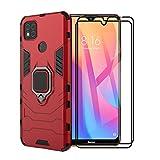 XIFAN Funda para Xiaomi Redmi 9C, [Robusto] Anillo Metálico Soporte [Funciona con El Montaje De Coche Magnético] Case Carcasa, Rojo + 2 Piezas Protector de Pantalla