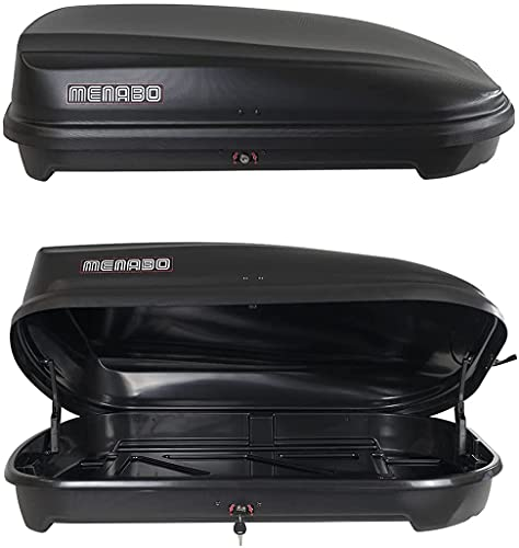 Menabo Quasar Roof Cargo Box 320 Liters with Lock, Matte Black, Made in Italy