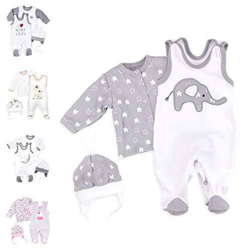 Baby Sweets 3er Baby-Set mit Strampler, Shirt & Mütze für Jungen & Mädchen in Grau Weiß/Erstausstattung als Strampler-Set im Elefanten-Motiv für Neugeborene & Kleinkinder in der Größe: 3 Monate (62)