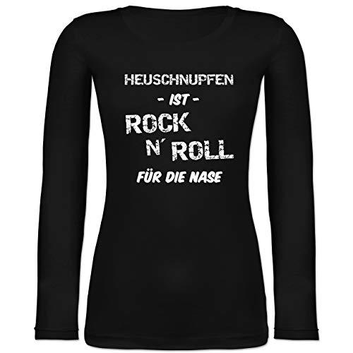 Sprüche - Heuschnupfen ist Rock n\' Roll für die Nase - L - Schwarz - Geschenk - BCTW071 - Langarmshirt Damen