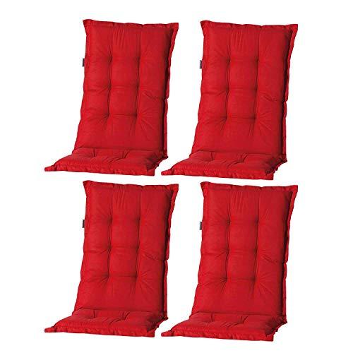 Nordje Hochlehner-Auflagen Comfort Gartenmöbel-Auflage 4er Set | In unterschiedlichen Farben (Rot)