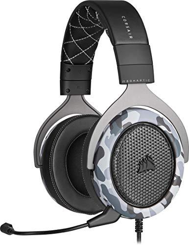 Corsair HS60 HAPTIC Auriculares Estéreo para Juegos con Efectos Hápticos en Los Bajos (Efectos Hápticos Taction Technology, Almohadillas de Lujosa Espuma Viscoelástica, Micrófono Extraíble) Camo