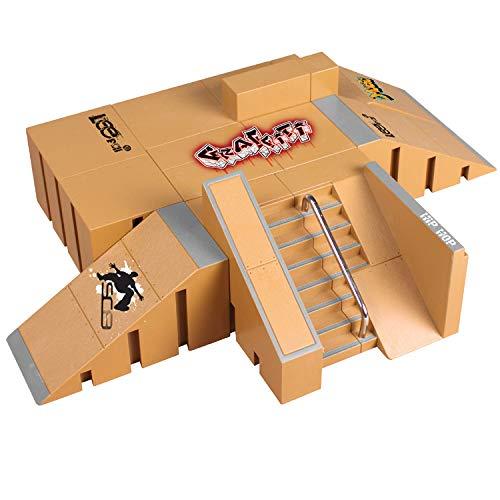 Samtlan Griffbrett Skatepark, Skatepark Kit, Mini Finger Skateboard Griffbretter Ultimative Parks Training Stützen Spielzeug, Konstruktionsspielzeug