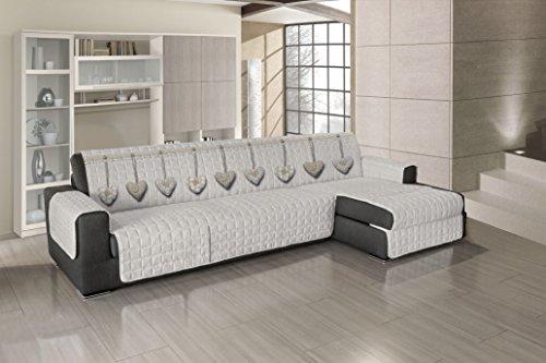 Couvre-canapé, matelassé, avec angle - Motif cœurs – Beige Dimensions : 280 – 285 cm (d'un accoudoir à l'autre) – Applicable à droite et à gauche – Produit fabriqué en Italie
