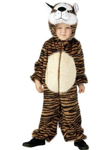 Smiffys-30802 Disfraz de Tigre, Incluye Enterizo con Capucha, Color marrón, S - Edad 4-6 años (Smiffy'S 30802)