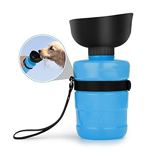 AVNICUD Hundewasserflasche, 520ml Hundewasserflasche, BPA-frei, tragbare Haustier-Wasserflasche für Haustiere unterwegs, beim Spazierengehen, auf Reisen und beim Wandern (Dunkelblau)