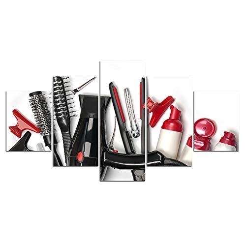 WZYWLH Modular Pictures 5peleles peluquería Cuadros Pintura de la Lona Wall Art Picture Decoración del Hogar para la Sala de Estar Pinturas de Impresión