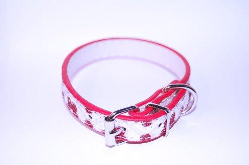 Pet Palace Collier en cuir de luxe pour chien « Flower Power Puppy » (ROCKIN' RED MEDIUM) avec pendentif en forme d'os clignotant LED