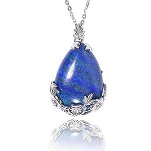 "KISSPAT Lapis Lazuli Necklace Teardrop Semi Precious Gemstone Pendant on 20"" Stainless Steel Chain"