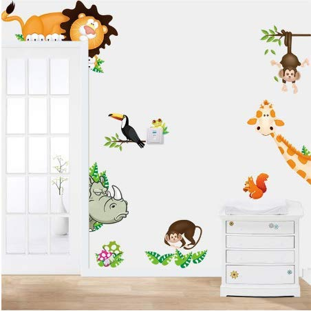 Decoratie schattige dieren DIY muursticker wooncultuur jungle bos thema behang voor kinderkamer sticker