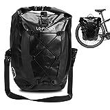 LEMEGO Gepäckträgertasche mit Schultergurt, 27L Hinterradtasche Rucksack wasserdichte Fahrradtasche Satteltasche Radtasche für Gepäckträger Umhängetasche Radtasche mit 2 Reifenheber