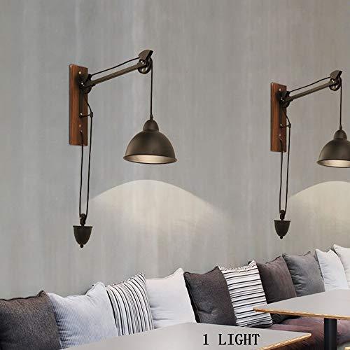 HTL Lampenlicht, Deckenleuchten, Kronleuchter, Wandlampe Retro-Stil Ländliche Industrie - Ziehen Sie Den Seilarm Verstellbare Lange Wand Aus Eisen Jobs Bürolampe Wand Gilt Kreativer Kaffee - Lichter-