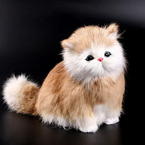 ZengBuks 5 Farben Elektronische Haustiere Katzen Puppen Simulation Tierspielzeug Katze Meowth Kinder Cute Pet Plüschtier Modell Ornamente Geschenk - Bräunlich Gelb