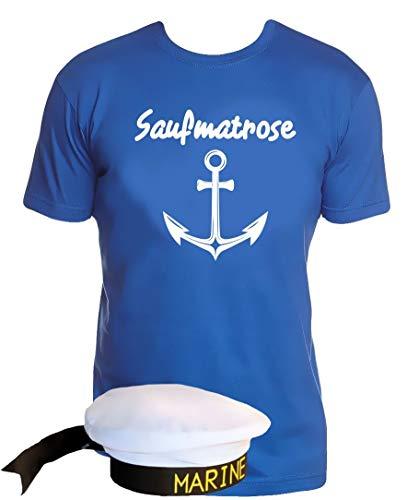 Coole-Fun-T-Shirts Matrosen Kostüm Set Saufmatrose T-Shirt + Matrosenmütze blau Gr.XL