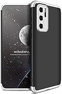 GKK Full Protection Anti-Shock PC 3 PCs Case for Huawei P40 Pro Without Screen Protector (Black-Silver)